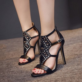 PU Studded Stiletto Heel Sandals
