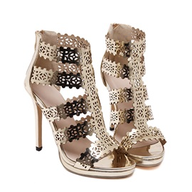 Metallic Hollow Zippered Stiletto Heel Sandals