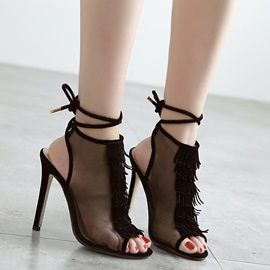 Tassels Mesh Peep-Toe Stiletto Heel Sandals