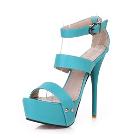 Solid Color PU Stiletto Heel Sandals