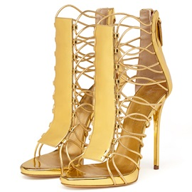 Metallic Strappy Back-Zip Stiletto Heel Sandals