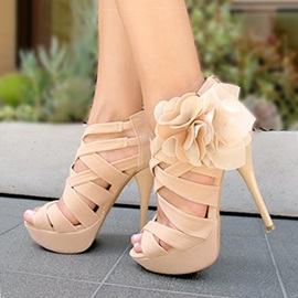 Solid Color Applique Back-Zip Platform Sandals
