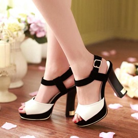 Color Block Peep-Toe Platform Sandals