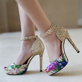 Floral Printed Sequins Stiletto Heel Sandals