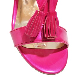Solid Color Tassels Chunky Heel Sandals