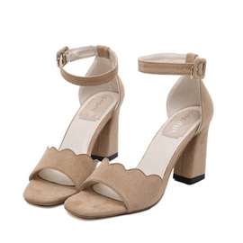 Suede Peep-Toe Ankle Strap Chunky Heel Sandals