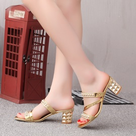 PU Studded Chunky Heel Sandals