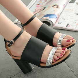 PU Open-Toe Ankle Strap Chunky Heel Sandals