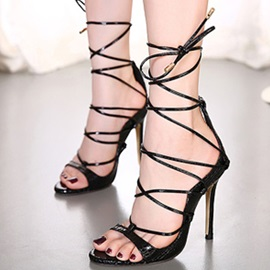 Embossed PU Peep-Toe Stiletto Heel Sandals