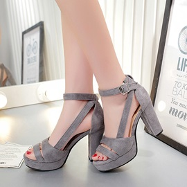 Faux Suede Peep-Toe Chunky Heel Sandals