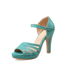 Solid Color PU Covering Heel Sandals