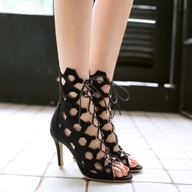 PU Hollow Lace-Up Heel Sandals
