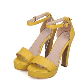 Solid Color PU Ankle Strap Sandals