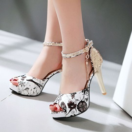 Floral Printed Sequins Covering Heel Sandals