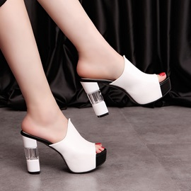 PU Peep-Toe Crystal Heel Sandals