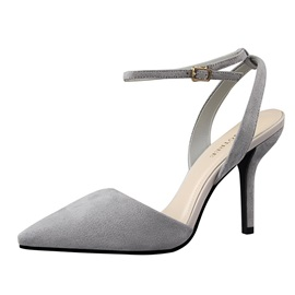 Suede Pointed Toe Ankle Strap Sandals
