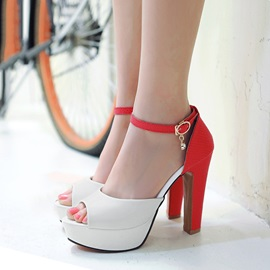Contrast Color PU Peep-Toe Sandals