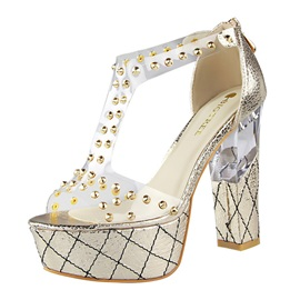Studded PVC Patchwork Chunky Heel Sandals
