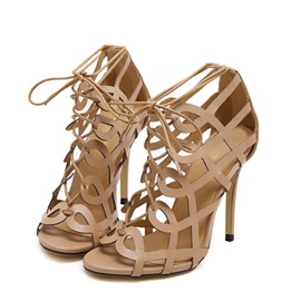 European Cut-Out Stiletto Heel Sandals