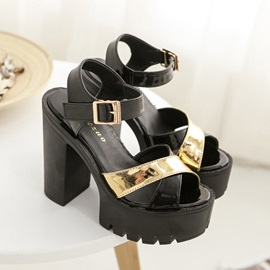 PU Peep-Toe Wedge Chunky Sandals for Women