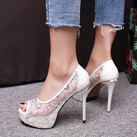 Mesh Sequins Peep-Toe Heel Sandals