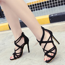Black Strappy Open-Toe Stiletto Heel Sandals