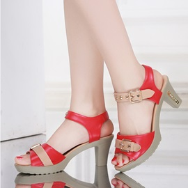 Contrast Color Chunky Heel Roman Sandals