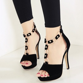 Suede Peep-Toe Chains Zippered Pumps