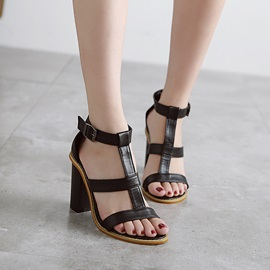 Solid Color Chunky Heel Classic Sandals