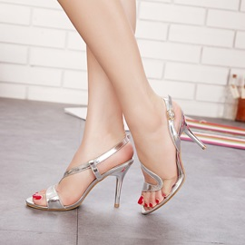 PVC Patchwork Buckles Stiletto Heel Sandals
