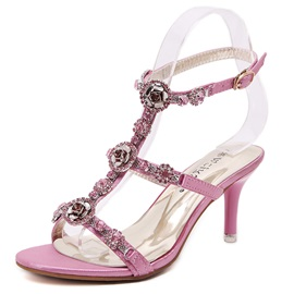 Diamond PU Buckles Heel Sandals