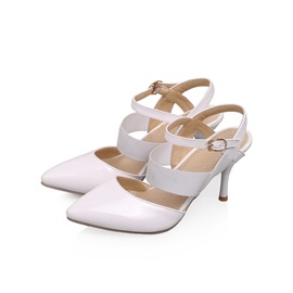 PU Pointed Toe Low-Heel Sandals