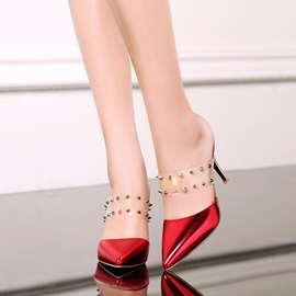 PVC Rivets Pointed Toe Mules