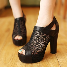 Lace Peep-Toe Zippered Sandals