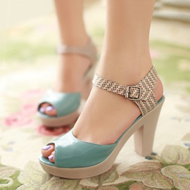 Peep-Toe Buckles Women's Chunky Heel Sandals
