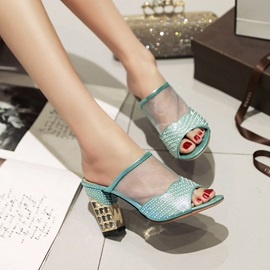 Rhinestone Mesh Patchwork Slip-On Sandals