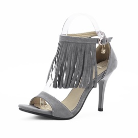 Suede Tassels Buckles Stiletto Heel Sandals