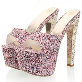 Sequins Slip-On Platform Peep-Toe Sandals