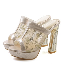 Lace Peep-Toe See Through Platform Sandals