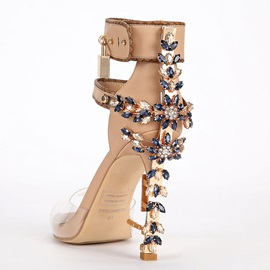 PU Buckle Rhinestone Sequin High Heel Sandals