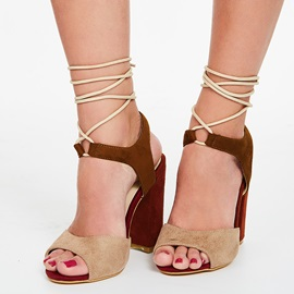 Suede Color Block Block Heel Women's Sandals