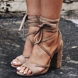 Suede Lace-Up Chunky Heel Brown Sandasl