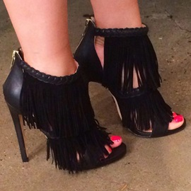 PU  Black Tassel Women's Heel Sandals