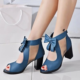 PU Zipper Hollow Block Heel Women's Styish Sandals