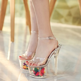 PVC Buckle See-Through Platform Flower Women's Sandals