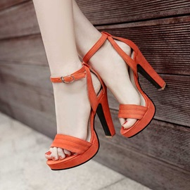 PU Line-Style Buckle Platform Heel Covering Women's Sandals