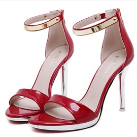 PU Zipper Stiletto Heel Women's Chic Sandals