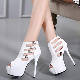 PU Zipper Hollow Buckle Platform Women's Sandals