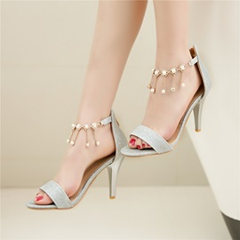 PU Zipper Chain High Heel Beads Women's Sandals