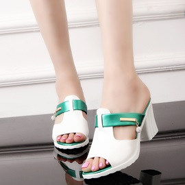 PU Slip-On Block Heel Women's Slide Sandals